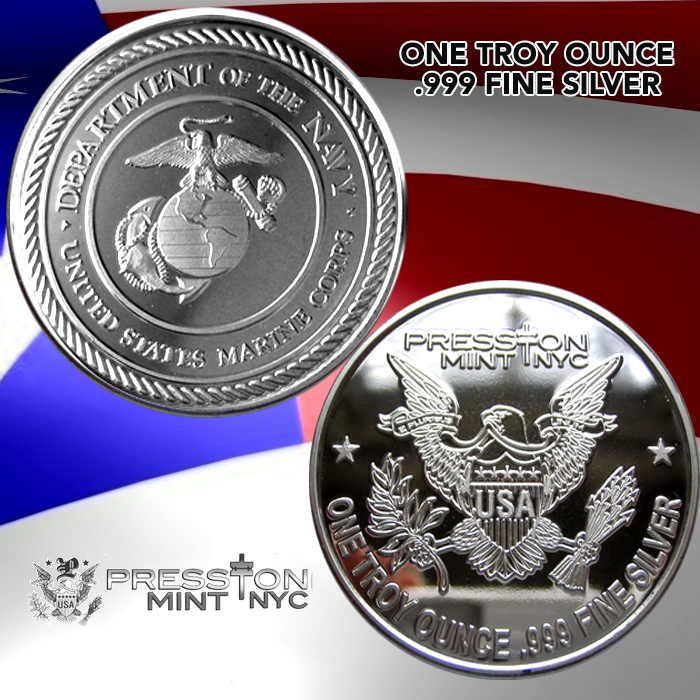 1 Troy Ounce 999 Fine Silver Proof Coin Us Marines
